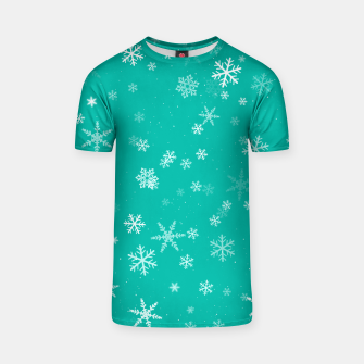 Thumbnail image of Green and White Snowflake Pattern T-shirt, Live Heroes