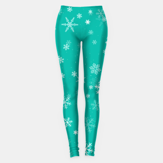 Thumbnail image of Green and White Snowflake Pattern Leggings, Live Heroes