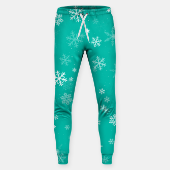 Thumbnail image of Green and White Snowflake Pattern Sweatpants, Live Heroes
