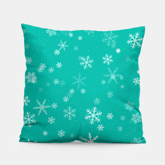 Thumbnail image of Green and White Snowflake Pattern Pillow, Live Heroes