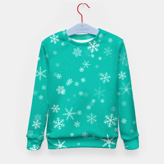 Miniatur Green and White Snowflake Pattern Kid's sweater, Live Heroes