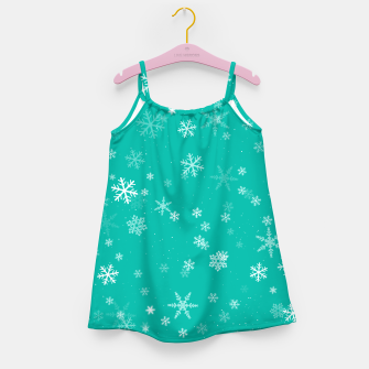 Thumbnail image of Green and White Snowflake Pattern Girl's dress, Live Heroes