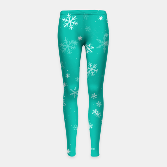 Thumbnail image of Green and White Snowflake Pattern Girl's leggings, Live Heroes