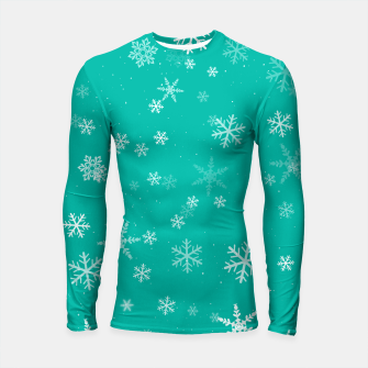 Thumbnail image of Green and White Snowflake Pattern Longsleeve rashguard , Live Heroes