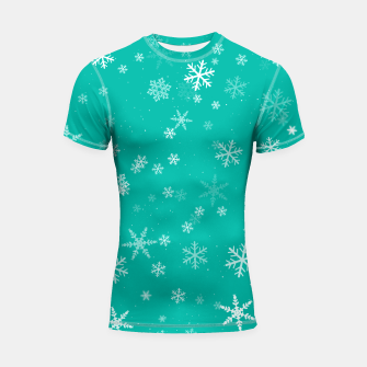 Thumbnail image of Green and White Snowflake Pattern Shortsleeve rashguard, Live Heroes