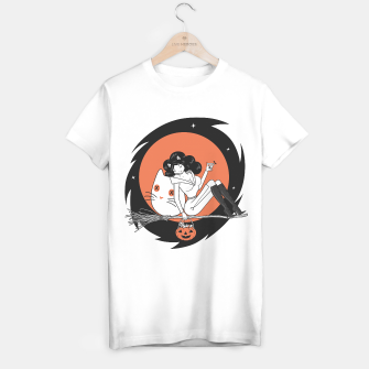 Miniatur Cat Witch on the way to Halloween coven   T-shirt regular, Live Heroes