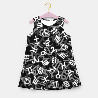Miniatur Astrology Zodiac Star Signs Camo Girl's summer dress, Live Heroes