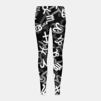Miniatur Astrology Zodiac Star Signs Camo Girl's leggings, Live Heroes