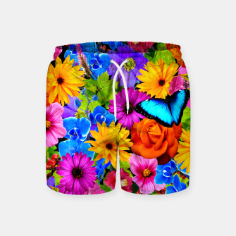 Miniatur Colorful Kawaii Flower and Butterfly Swim Shorts, Live Heroes