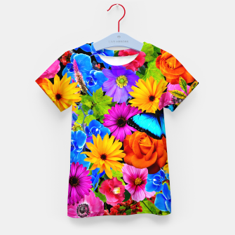 Miniatur Colorful Kawaii Flower and Butterfly Kid's t-shirt, Live Heroes