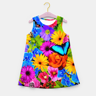 Miniatur Colorful Kawaii Flower and Butterfly Girl's summer dress, Live Heroes