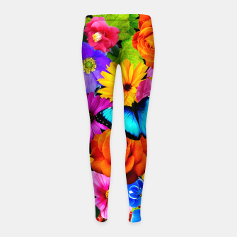 Miniatur Colorful Kawaii Flower and Butterfly Girl's leggings, Live Heroes
