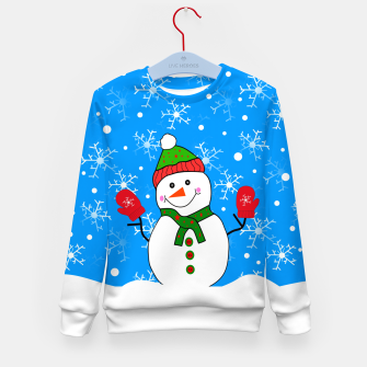 Thumbnail image of Red Mitted Snowman Kid's sweater, Live Heroes