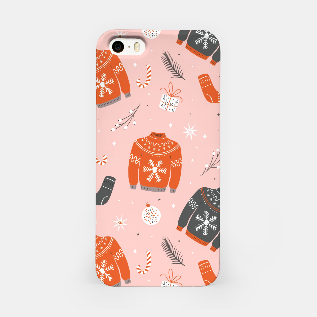 Image of Ugly Christmas sweater pattern, pink iPhone Case - Live Heroes