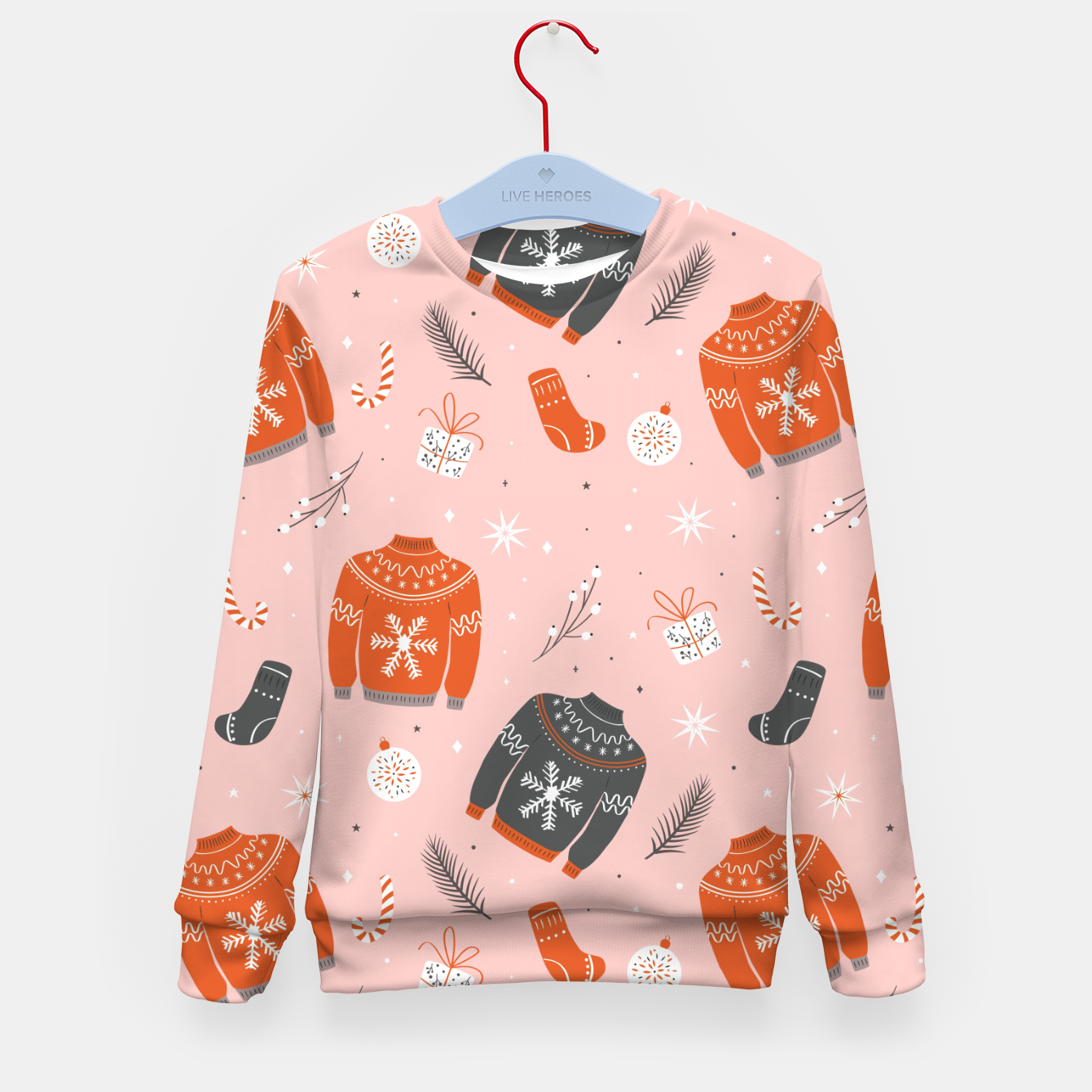 Image of Ugly Christmas sweater pattern, pink Kid's sweater - Live Heroes