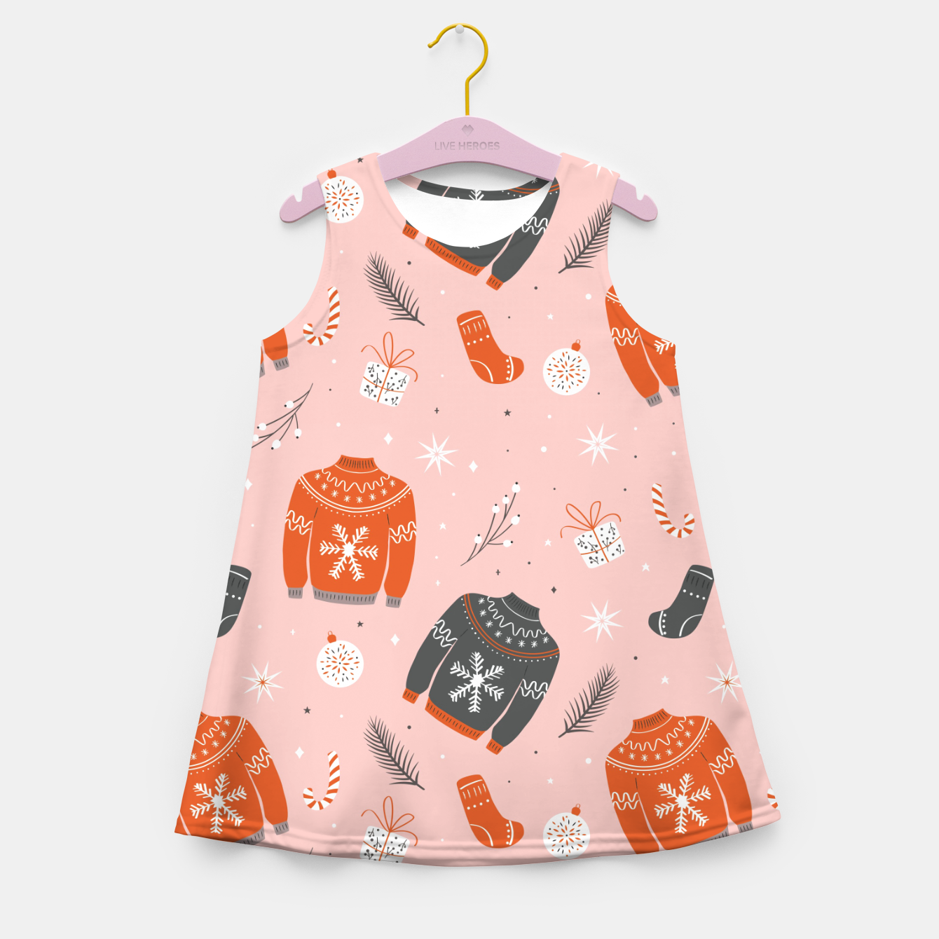 Image of Ugly Christmas sweater pattern, pink Girl's summer dress - Live Heroes