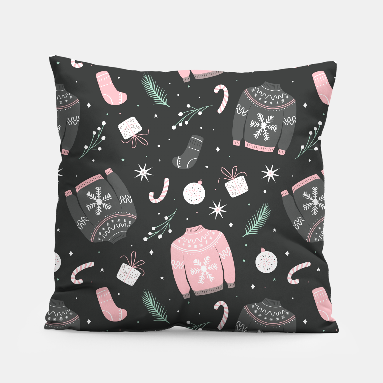 Image of Ugly Christmas sweater pattern, dark Pillow - Live Heroes