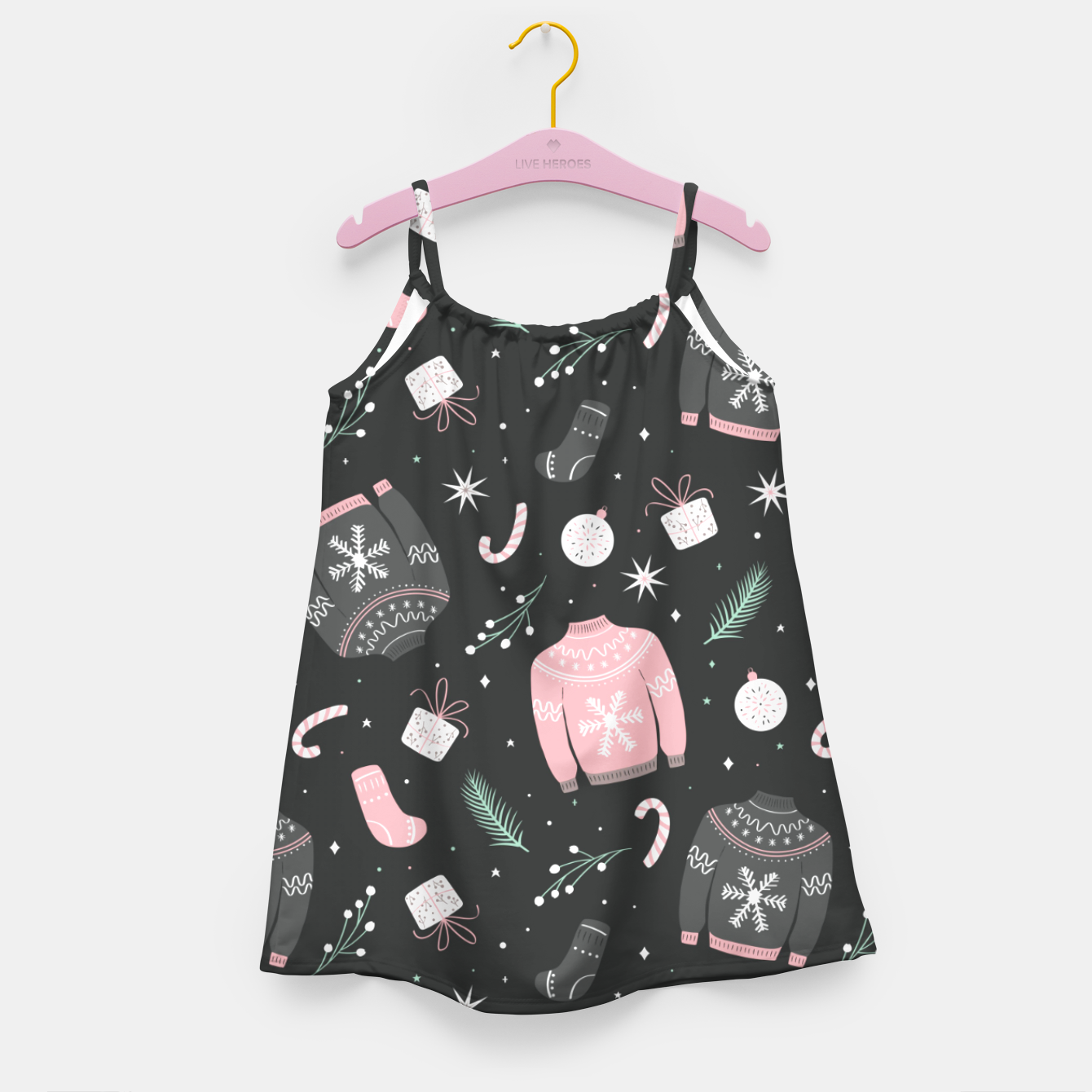 Image of Ugly Christmas sweater pattern, dark Girl's dress - Live Heroes