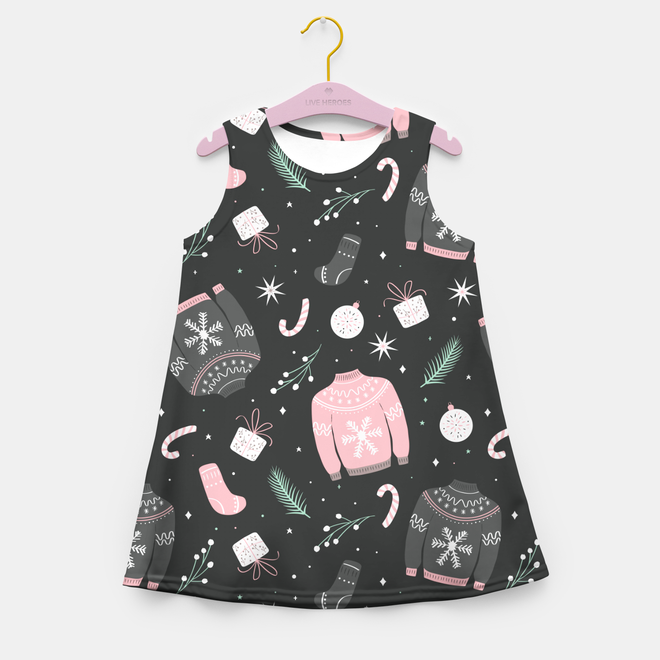 Image of Ugly Christmas sweater pattern, dark Girl's summer dress - Live Heroes
