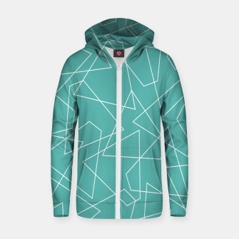 Thumbnail image of Abstract geometric pattern - blue and white. Zip up hoodie, Live Heroes