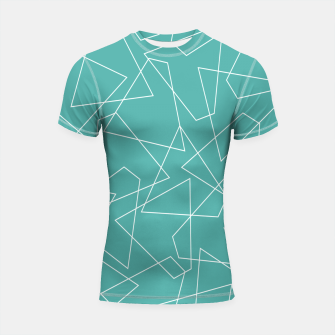Thumbnail image of Abstract geometric pattern - blue and white. Shortsleeve rashguard, Live Heroes