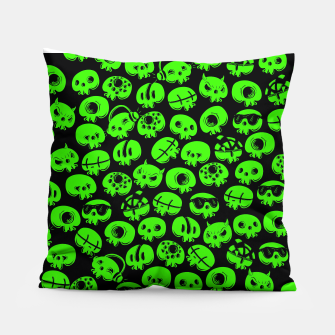 Thumbnail image of Just green skulls Pillow, Live Heroes