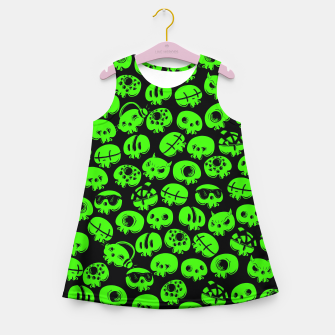 Thumbnail image of Just green skulls Girl's summer dress, Live Heroes