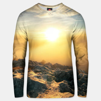 Thumbnail image of Amazing sunset above clouds and sun lit rocks Unisex sweater, Live Heroes