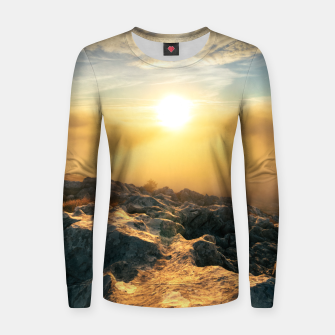 Thumbnail image of Amazing sunset above clouds and sun lit rocks Women sweater, Live Heroes