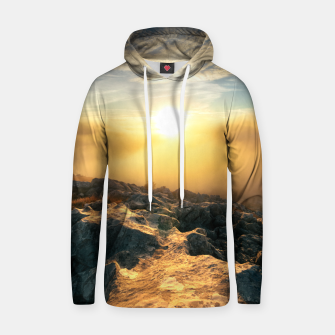 Thumbnail image of Amazing sunset above clouds and sun lit rocks Hoodie, Live Heroes