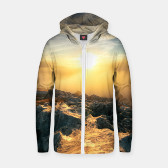 Thumbnail image of Amazing sunset above clouds and sun lit rocks Zip up hoodie, Live Heroes