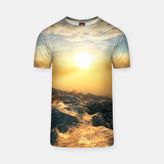 Thumbnail image of Amazing sunset above clouds and sun lit rocks T-shirt, Live Heroes
