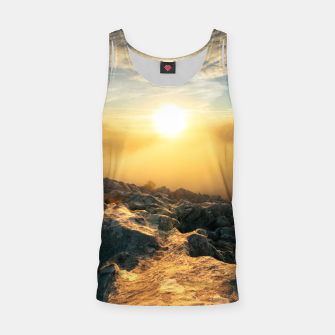 Thumbnail image of Amazing sunset above clouds and sun lit rocks Tank Top, Live Heroes