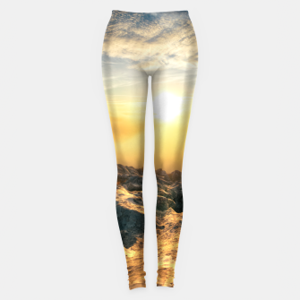 Thumbnail image of Amazing sunset above clouds and sun lit rocks Leggings, Live Heroes