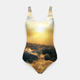 Thumbnail image of Amazing sunset above clouds and sun lit rocks Swimsuit, Live Heroes