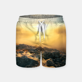 Thumbnail image of Amazing sunset above clouds and sun lit rocks Swim Shorts, Live Heroes