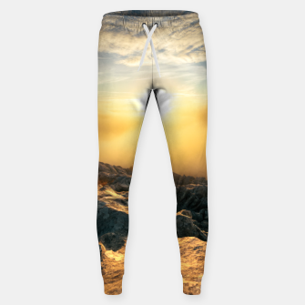Thumbnail image of Amazing sunset above clouds and sun lit rocks Sweatpants, Live Heroes