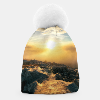 Thumbnail image of Amazing sunset above clouds and sun lit rocks Beanie, Live Heroes