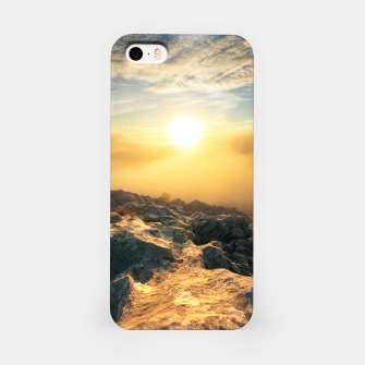 Thumbnail image of Amazing sunset above clouds and sun lit rocks iPhone Case, Live Heroes