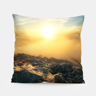 Thumbnail image of Amazing sunset above clouds and sun lit rocks Pillow, Live Heroes