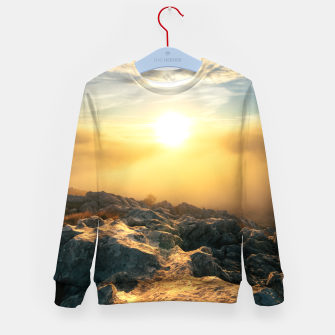 Thumbnail image of Amazing sunset above clouds and sun lit rocks Kid's sweater, Live Heroes