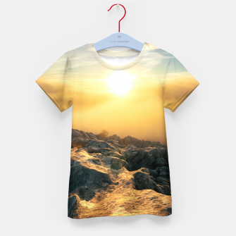 Thumbnail image of Amazing sunset above clouds and sun lit rocks Kid's t-shirt, Live Heroes