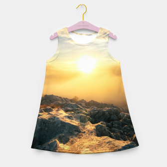 Thumbnail image of Amazing sunset above clouds and sun lit rocks Girl's summer dress, Live Heroes