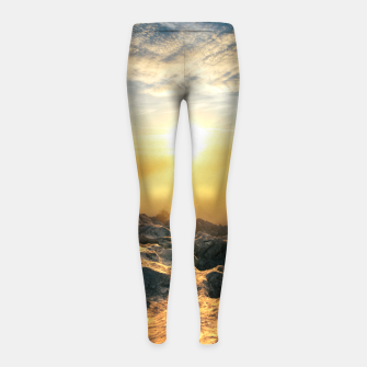 Thumbnail image of Amazing sunset above clouds and sun lit rocks Girl's leggings, Live Heroes