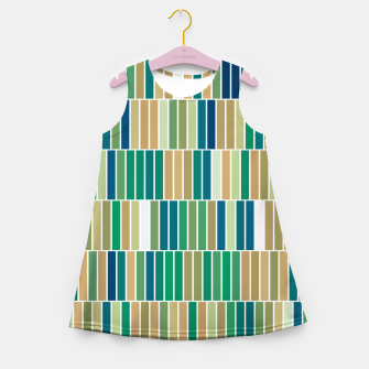 Thumbnail image of Bookshelves, abstract illusrtation of vertical bars Girl's summer dress, Live Heroes