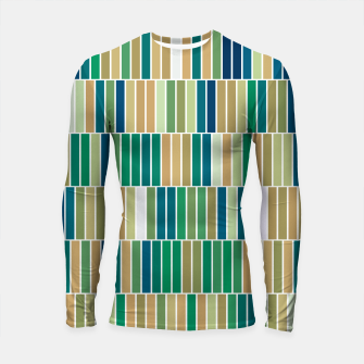 Thumbnail image of Bookshelves, abstract illusrtation of vertical bars Longsleeve rashguard , Live Heroes