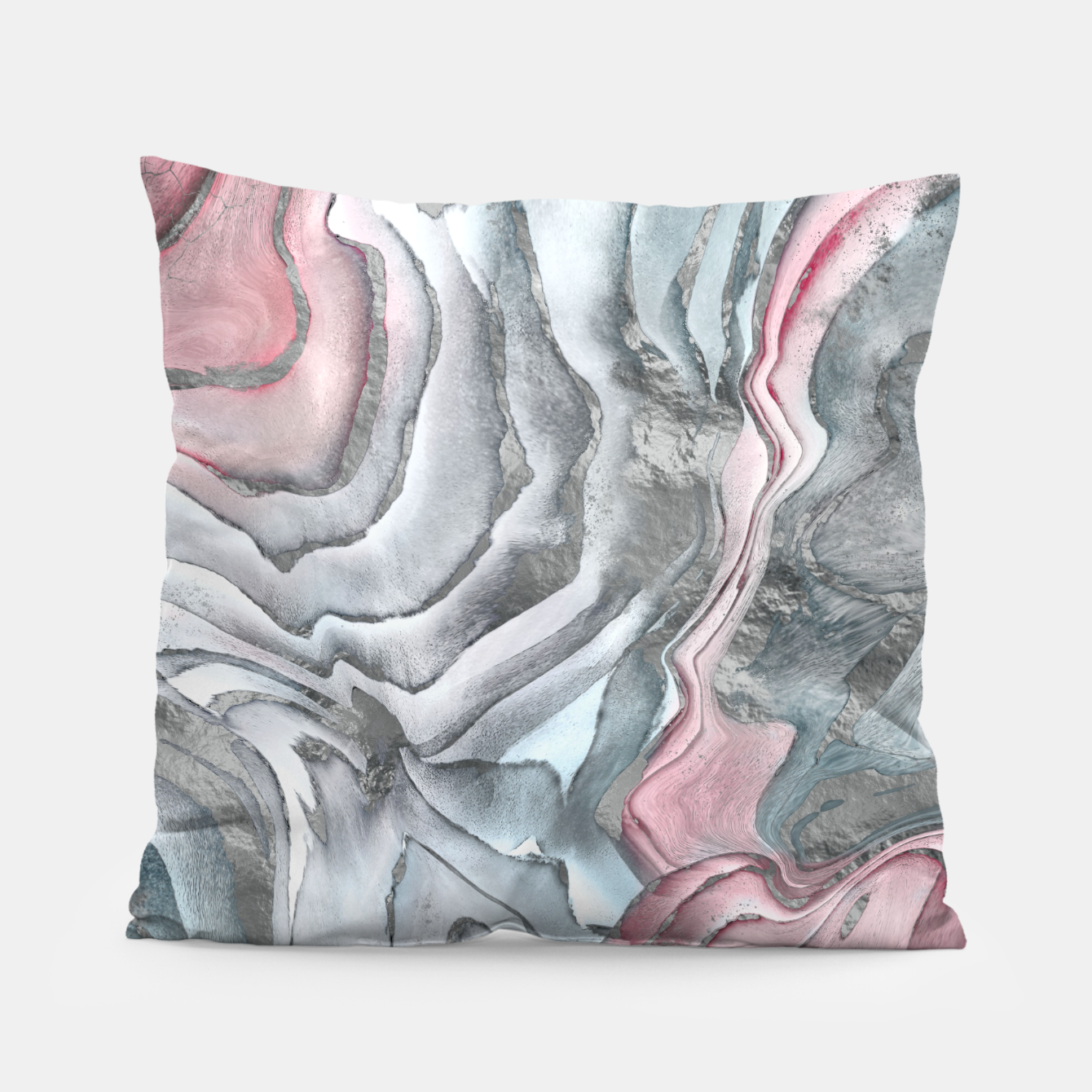 Image of Blush rose marble - pastel pinks, grey and silver Pillow - Live Heroes