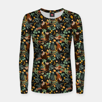 Red pandas in dark wild nature Sudadera para mujeres thumbnail image