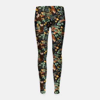 Miniature de image de Red pandas in dark wild nature Leggings para niña, Live Heroes