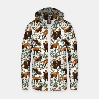 Thumbnail image of Little red pandas in nature Sudadera con capucha y cremallera , Live Heroes